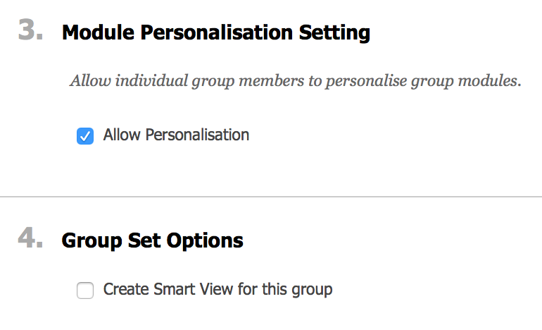 group set options