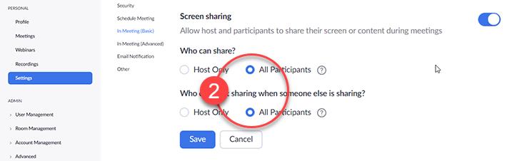 Allow screen share